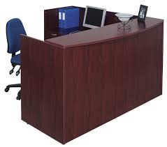 l reception station with bow front transaction top mahogany laminate bow front reception counter office reception desk
