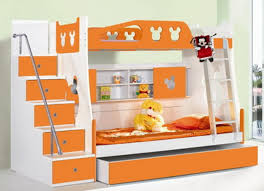 kids room bedroom cute orange and white themes with double deck bunk bed designs for boys room furniture