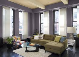 decoration cool purpel paint with long white drapes on wide glass window facing green sofa chic family room decorating