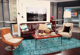 interesting brown top table and leather sofa on blue carpet in appealing bohemian interior design bohemian living room appealing home interiro modern living room