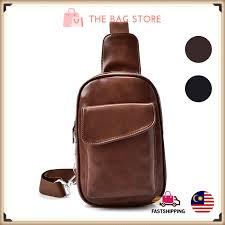 Le Voue M56 <b>Classic PU Leather Men</b> Bag Slingbag | Shopee ...