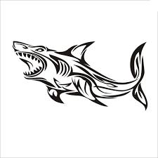 2019 <b>10*19cm Shark Decal Angling</b> Tackle Shop Hollow Sticker ...