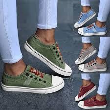<b>Women</b> Sneakers Low-cut Trainers Canvas Flat Shoes <b>Women</b> ...