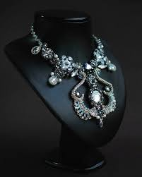 Beaded crystals statement <b>silver</b> gray necklace with <b>Swarovski</b> ...