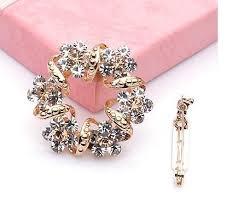 2019 <b>Korea</b> Style Brooch Luxury Anadem With Full <b>Crystal Silk</b> Scarf ...