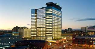 a proud owner of the leed platinum certification manitoba hydro place is considered to be the most energy efficient office tower in north america beautiful office building