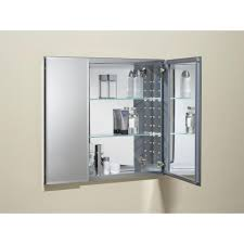 image bath glass shelf: kohler  in w x  in h two door recessed or surface mount medicine cabinet in silver aluminum k cb clcfs the home depot