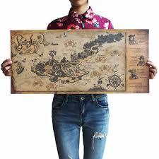 <b>Retro Kraft Pirate Sailing</b> World Map Poster Ancient World Vintage ...