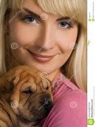 Girl with shar pei puppy - girl-shar-pei-puppy-4083779