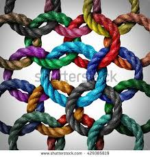 central networking and network connection business concept as a group of diverse circle ropes connected to business concepts business life office