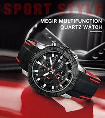 <b>MEGIR Men</b> Watches Analog Quartz Wristwatch Waterproof ...
