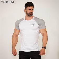 <b>YEMEKE Mens</b> Summer gyms Fitness brand <b>T shirt</b> Casual ...
