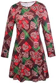 LaSuiveur Women's <b>Christmas Santa</b> Claus <b>Print</b> Pullover Flared A ...
