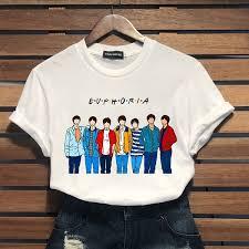 <b>2019 Summer Women New</b> Kpop Bts Bangtan Boys Pattern Print O ...
