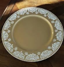charger plates decorative: gold charger plate with hand painted henna design in white