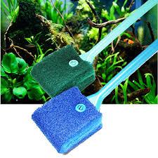 2 Head <b>Cleaning Brush</b> Plastic Sponge <b>Aquarium</b> Glass Algae ...