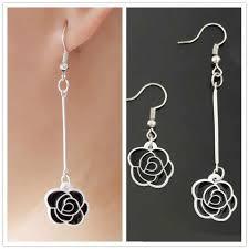 EK2082 <b>Korean</b> Fashion Lovely Asymmetric <b>Black Rose Flower</b> ...