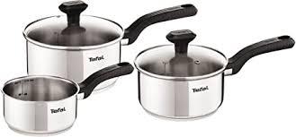 Tefal C973S344 Comfort Max Stainless Steel Saucepan Set, <b>3 Pieces</b>