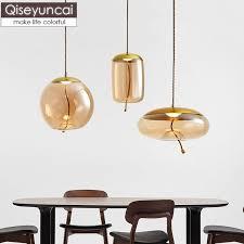 <b>Qiseyuncai Nordic style</b> glass restaurant chandelier simple bar ...