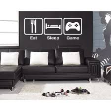 Shop <b>Eat Sleep Game Wall</b> Art Sticker Decal White - Free Shipping ...