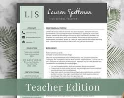 teacher resume template for word  amp  pages by landeddesignstudioteacher resume template for word and pages      page resumes included    free cover letter   tips   teacher resume   printable template