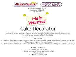 employment bakery express help wanted cake decorator 2015