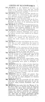 the kkk in the s to such women the klan made its appeal here is a portion of the creed of klanswomen for the full text click on the creed