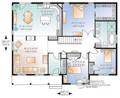House plan W  V detail from DrummondHousePlans com    st level Affordable bungalow house plan   bedrooms  open floor plan   fireplace
