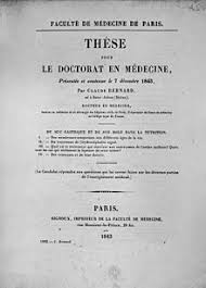 The cover of the thesis presented by Claude Bernard to obtain his Doctorate of Medicine
