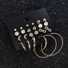 <b>12 Pairs</b>/set 2018 Trendy Female Rhinestone <b>Crystal</b> Stud Earrings ...