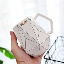 Ceramic Hand Grip Cup <b>Creative Polygonal Ceramic Mug</b> Office ...