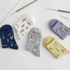 <b>1Pair Fashion Women Plant</b> Cactus Pattern Cacti Socks Cactus ...
