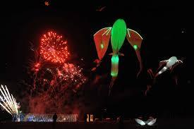 the international kite festival ricv at berck northern a night flight and firework show