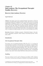 interventions the occupational therapist enables recovery springer international handbook of occupational therapy interventions international handbook of occupational therapy interventions