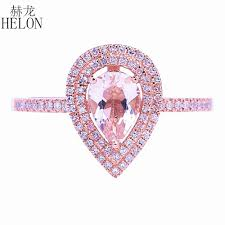 helon solid 14k rose gold pear cut 5x7mm genuine tourmaline