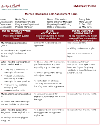 being a mentee how to benefit from a mentoring relationship mentee readiness self assessment form