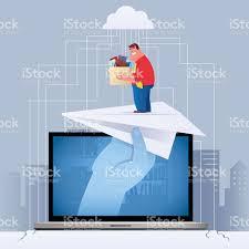 man finding new job via internet stock vector art istock man finding new job via internet royalty stock vector art