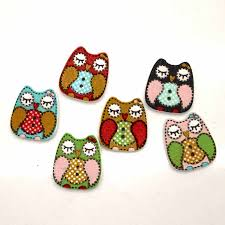 <b>50pcs</b> 21x20mm Mixed <b>Owl Wooden</b> Buttons For Clothes Crafts ...