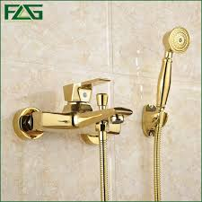 golden bathroom shower column faucet wall: flg wall mounted antique brass brushed gold plated bathtub faucet with hand shower bathroom bath shower