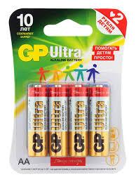 <b>Комплект из алкалиновых батареек</b> GP Ultra Alkaline AA, 4 шт ...