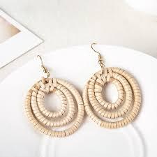 <b>Ethnic style</b> Rattan <b>earrings</b> Geometric Exaggerated handmade ...
