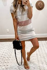 Round Neck <b>Stripes Short</b> Sleeve <b>Casual</b> Dresses - Luvyle.com