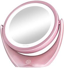 Aesfee <b>LED Lighted Makeup</b> Mirror, 5x <b>Magnifying</b> Double-Sided ...