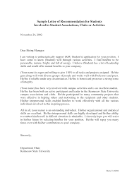 sample student recommendation letter cover letter sample student recommendation letter