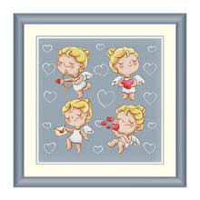Комплект для <b>вышивки</b> крестиком Angel <b>girl</b>, 14CT, синяя ткань ...