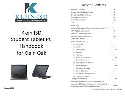 Klein ISD Student <b>Tablet PC</b> Handbook for Klein Oak