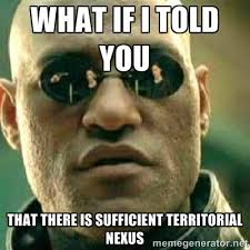 what if i told you that there is sufficient territorial nexus ... via Relatably.com