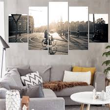 cityscape 5 panels wall art canvas paintings wall decorations for living room home office artwork giclee wall artwork home decor artwork for the office