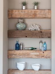 diy reclaimed barn wood wall mounted shelf among white concrete wall with modern floating shelves decorating barn wood ideas barn