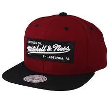 <b>Own</b> Brand <b>2</b> Tone Label Burgundy/Black Snapback - <b>Mitchell & Ness</b>
